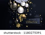 glam christmas cadr with white... | Shutterstock .eps vector #1180275391