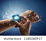 close up female hand with... | Shutterstock . vector #1180280917