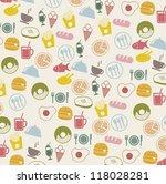 vintage food icons over beige... | Shutterstock .eps vector #118028281