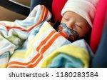 Newborn Baby Boy In A Car Seat...