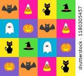 halloween icons   background | Shutterstock . vector #1180305457