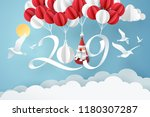 paper art of 2019 hang with... | Shutterstock .eps vector #1180307287