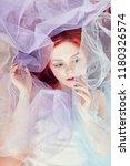 redhead girl dreams  bright... | Shutterstock . vector #1180326574