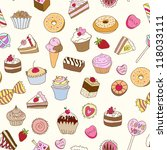 seamless pattern with sweets... | Shutterstock .eps vector #118033111