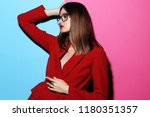 fashion woman in glasses. red... | Shutterstock . vector #1180351357