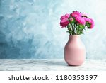 vase with beautiful aster... | Shutterstock . vector #1180353397