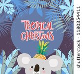 tropical christmas poster with...   Shutterstock .eps vector #1180354411