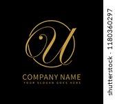 letter u script initial luxury...   Shutterstock .eps vector #1180360297