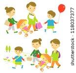 family shopping picnic | Shutterstock .eps vector #118037377
