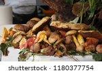 various types of mushrooms ... | Shutterstock . vector #1180377754