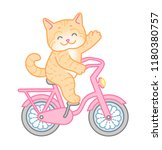 happy red cat rides a pink bike.... | Shutterstock .eps vector #1180380757