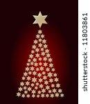 white stars christmas tree...   Shutterstock . vector #11803861