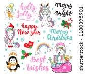 christmas calligraphy lettering ... | Shutterstock .eps vector #1180395901