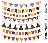 set of halloween bunting   Shutterstock .eps vector #1180407847