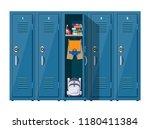 blue metal cabinets. lockers in ... | Shutterstock . vector #1180411384