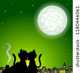 illustration of a cat couple on ... | Shutterstock . vector #1180446061