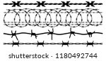 barbed wire  vector silhouette... | Shutterstock .eps vector #1180492744