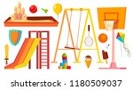 playground equipment set vector.... | Shutterstock .eps vector #1180509037