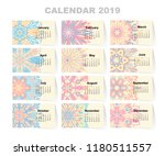 calendar for 2019 year. vintage ... | Shutterstock .eps vector #1180511557