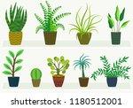house plants in pots  flat... | Shutterstock .eps vector #1180512001