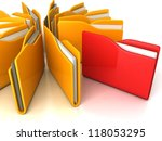 office folders with documents on white background - stock photo