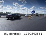 traffic on the road  road... | Shutterstock . vector #1180543561