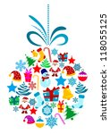 christmas holiday ball with... | Shutterstock .eps vector #118055125
