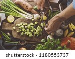 healthy food cooking concept.... | Shutterstock . vector #1180553737