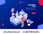 patient and pharmacist doctor... | Shutterstock .eps vector #1180583281
