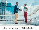 full length side view glad... | Shutterstock . vector #1180585801