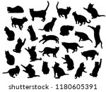 Stock vector set vector silhouettes of the cat different poses standing jumping and sitting black color 1180605391