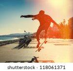 silhouette of skateboarder... | Shutterstock . vector #118061371