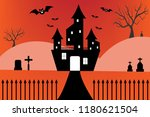 silhouette castle with spooky...   Shutterstock .eps vector #1180621504