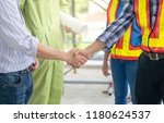 engineers check hand to build...   Shutterstock . vector #1180624537