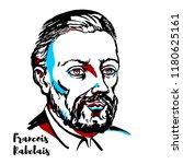 francois rabelais engraved... | Shutterstock .eps vector #1180625161