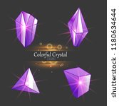 colorful assorted crystals set. ... | Shutterstock .eps vector #1180634644