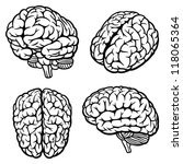 human brain. set of four views. ... | Shutterstock .eps vector #118065364