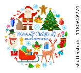 christmas card with reindeer...   Shutterstock .eps vector #1180659274