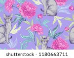 cats and peonies. kittens and... | Shutterstock .eps vector #1180663711