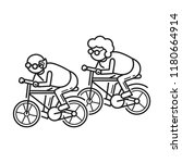 old person on bicycle concept... | Shutterstock .eps vector #1180664914