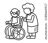 old person in wheel chair... | Shutterstock .eps vector #1180664917