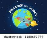 rocket flying in space around... | Shutterstock .eps vector #1180691794