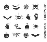 vector image set of halloween... | Shutterstock .eps vector #1180692304