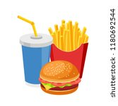 fast food meal colorful burger... | Shutterstock .eps vector #1180692544