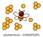 honeycomb and bumblebee flying... | Shutterstock .eps vector #1180695391