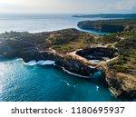 broken beach in nusa penida... | Shutterstock . vector #1180695937