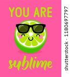 cute lime cartoon illustration... | Shutterstock .eps vector #1180697797