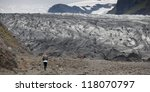 terminus of glacier with girl... | Shutterstock . vector #118070797