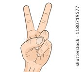 hand gesture two fingers... | Shutterstock .eps vector #1180719577