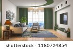 interior of the living room. 3d ... | Shutterstock . vector #1180724854